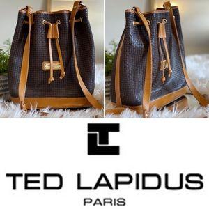 Vintage Ted Lapidus Monogramed Leather Bucket Bag